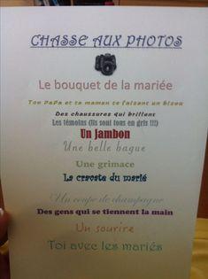 Jeu enfants mariage / chasse aux photos