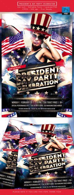 President Day Party Celebration Flyer Template PSD