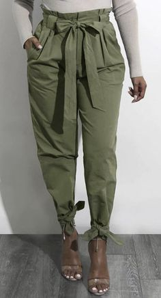 Green Lace-up Design High Waist Pants