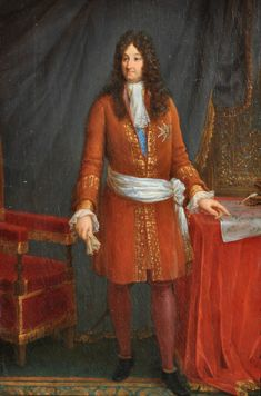 Portrait of King Louis XIV of France with a plan by Vauban with fortifications of a town