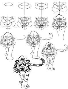 Как нарисовать тигра Шерхана из Маугли