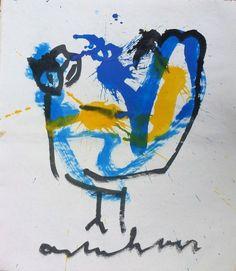 Anton Heyboer - De oervogel  Geschilderd door Anton Heyboer met acrylverf en oostindische inkt op handgeschept papier.Papier gemaakt door papiermolen de Schoolmeester te Westzaan van lompen .Afmetingen : 69 cm x 61 cm .Voorstelling : de Oervogel .Conditie : ongebruikt Herkomst : gekocht in 1988 van Anton Heyboer .  EUR 1.00  Meer informatie