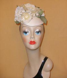 White Fascinator Hat w/ Big White Flowers by John Koch Montrose Studio #JohnKochMontrose #Fascinator #Formal