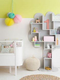 Yellow and Grey and white Baby Girl Nursery Design Baby Bedroom, Nursery Room, Girl Nursery, Girl Room, Girls Bedroom, Pastel Nursery, Child's Room, Yellow Nursery, Chic Nursery