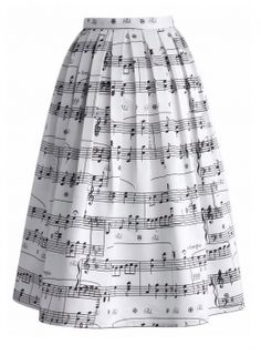Fvogue Ladylike Easy Match High classic Musical note Printed Expansion Knee Length Skirt
