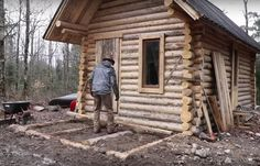Timelapse Of A Man Building A Log Cabin From Scratch With No Power Tools