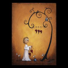 Whimsical Art Print  On the Line by RusticGoth on Etsy