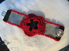 Black & White Striped Crocheted Red Rose Cuff Bracelet Oo La La French Lolita Steampunk Goth. $24.99, via Etsy.