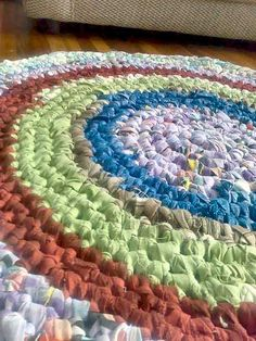 crochet rag rug - My great-grandmother supplemented her housekeeping income after she was widowed by making these for her clients.  Some were room-sized!