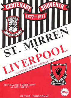 St Mirren v Liverpool  December 1977