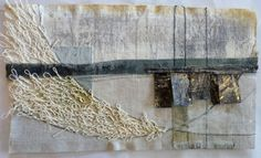 Debbie Lyddon: Large Marshscape – White Loops and Tree Vertical Lines, Cloth, Stitch, Wax, approx. 28x20cms