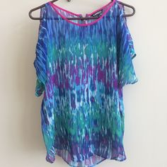 EXPRESS- Sheer multi-colored short sleeve blouse Really fun Express shirt. Sheer material and has sexy, peek-a-boo shoulder cuts. Only worn a few times, perfect condition. Really pretty. Express Tops Blouses