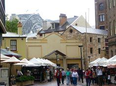 The Rocks Markets with a glimpse of the Sydney Harbour Bridge #Sydney #Australia