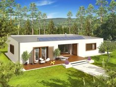 Projekt domu EX 8 wersja C Energo Plus - Flat Roof House, Big Houses, House Plans, Shed, Outdoor Structures, House Design, House Styles, Outdoor Decor, Home Decor