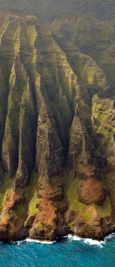 Nā Pali Coast, Kauai, Hawaii  The helicopter ride is spectacular! And it's beautiful by ship too.