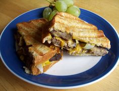 Steak, Caramelized Onion, Mushroom and Cheddar Panini