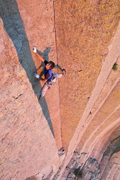 Stemming up a beautiful chimney flute on what looks like Devils Tower, WY. #rock climbing