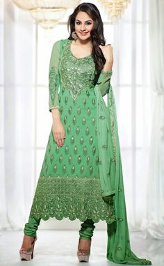 USD 70 Green Embroidery Faux Georgette Long Salwar Style Suit 29521