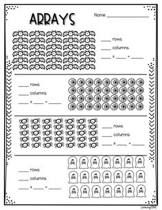Halloween Multiplication Worksheets! Counting Money Worksheets, Math Multiplication Worksheets, Halloween Math Worksheets, 2nd Grade Math Worksheets, Maths, Repeated Addition Worksheets, Repeated Addition Multiplication, Array Worksheets, Free Worksheets