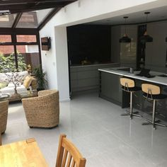 David Hunt has used our Royale Light grey polished porcelain tiles in his open plan kitchen/conservatory. With the trend for open living and large seamless spaces these large polished porcelain tiles are perfect when looking to create a spacious aesthetic Large Floor Tiles, Grey Floor Tiles, Small Tiles, Wood Effect Tiles, Wood Tile Floors, Grey Flooring, Living Room Tiles Design, Polished Porcelain Tiles, Porcelain Floor