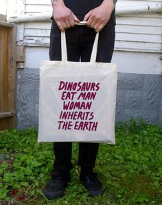 Dinosaurs Eat Man Silkscreened Tote Bag by DanyReede on Etsy