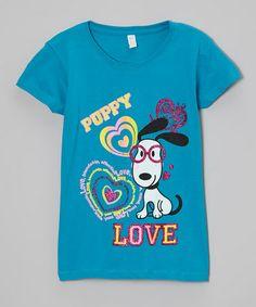 Look what I found on #zulily! Turquoise 'Puppy Love' Tee - Girls by Cutie Patootie #zulilyfinds