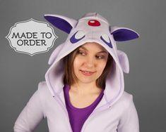 Espeon Pokemon Costume Hoodie - Made to Order Pokemon Costumes, Unisex Fashion, Womens Fashion, Popular Videos, Cute Faces, Deconstruction, Fleece Hoodie, Rain Jacket, Windbreaker