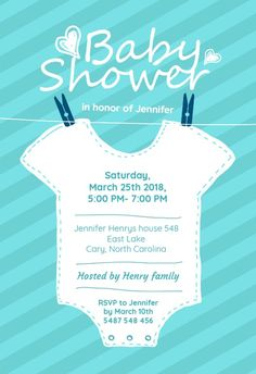 Baby Blue Stripes - Free Baby Shower Invitation Template | Greetings Island