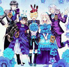 Pandora Hearts - Gilbert, Alice, Oz, Sharon et Break vêtus avec des tons bleus et/ou violets