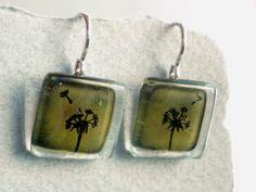 Dandelion dangly earrings  Green fused glass dangle by BGLASSbcn