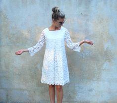 Vintage babydoll mod white lace dress  1960s by circa1955vintage