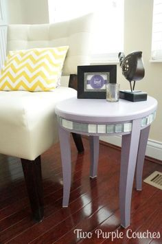 DIY Side Table Makeover. Paint and mosaic tiles take this flea market side table from sad to stunning! Click for the DIY tutorial.