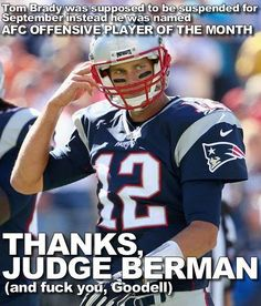 Thanks, Judge Berman - (and fuck you, Goodell)