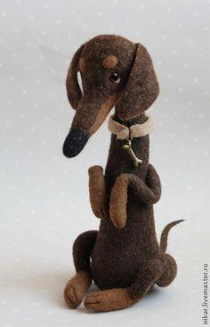 felted begging dachshund