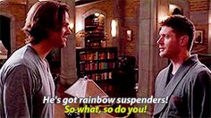 "Sam and Dean in ""Just My Imagination"". This is from the season 11 gag reel. Lol"