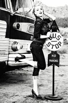 Bus stop pinup:: Pin Up Girl Lifestyle