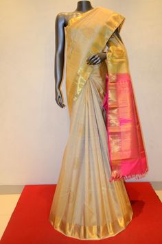 Cream Kanjeevaram Saree With Traditional Border Product Code: AB204531 Online Shopping: http://www.janardhanasilk.com/Saree-Collections/Kanjeevaram-Silk-Saree/Cream-Kanjeevaram-Saree-With-Traditional-Border?limit=25
