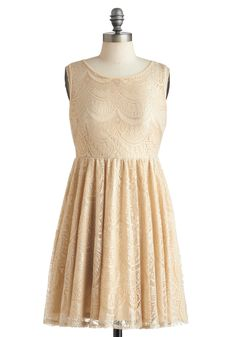 Beige of Honor Dress - Mid-length, Cream, Lace, Party, A-line, Sleeveless, Solid, Backless, Cocktail, Daytime Party, Top Rated