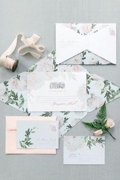 Floral wedding invitation suite: Photography: Corina V. - http://corinavphotography.com/