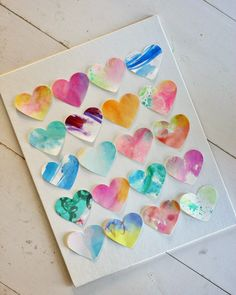 Easy, Dreamy Valentine Craft for Kids and Bigs. #watercolor #thrifty #kidcraft #hearts #colorful
