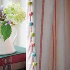 cotton pom pom in Duck Egg, Fuchsia and Pale Olive. Suitable for finishing your cushions, curtains and blinds. Curtain Trim, Curtain Fabric, Susie Watson, Curtains With Blinds, Pom Pom Curtains, Bedroom Curtains, Weaving Process, Hand Weaving, Passementerie