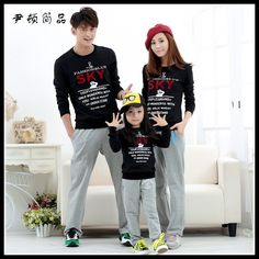 Find More Family Matching Outfits Information about Autumn Winter 2015 Korean Style Family Clothing Long sleeved O neck Sweatshirts Set  Dad Son Mom and Daughter Children Clothes,High Quality clothes,China child clothes sizes Suppliers, Cheap clothes brand from Rose Town on Aliexpress.com