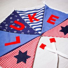 Handmade nautical flag bunting, personalised with any name. Each flag is carefully produced by hand therefore can be made to suit your own ideas. Nursery Bunting, Nautical Nursery, Nursery Decor, Kids Gifts, Baby Gifts, Personalised Bunting, Nautical Flags, Fabric Bunting, Name Banners