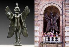 Left: Bronze statuette of the demon Pazuzu. Musée du Louvre, Paris, Département des Antiquités Orientales (MNB 467); Right: Roberto Cuoghi. Šuillakku, 2008