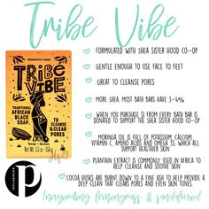 Women in Africa have been using the traditional recipe for Tribe Vibe for generations. It starts with natural ingredients like cocoa husks, then blended with moringa oil, plantain extract, & tons of sustainable shea butter. Tribe Vibe nourishes and moisturizes your skin while helping clear clogged pores & preventing the appearance of skin imperfections.  CLICK TO READ MORE! #posh #chunk #soap #naturallybased #africa #shea #cocoa #moringaoil #nourish #moisturize #bath #cloggedpores