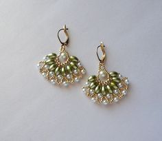 Woven Earrings with Green Oval Pearls by IndulgedGirl on Etsy - Design by Juanita Carlos.