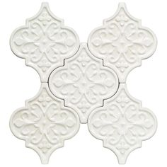 Ivy Hill Tile Vintage Florid Lantern White Ceramic Mosaic Wall Tile - in. Tile Sample at The Home Depot - Mobile Splashback Tiles, Mosaic Wall Tiles, Marble Mosaic, Backsplash Tile, Tile Countertops, Tiling, Backsplash Ideas, Cement Tiles, Backsplash Arabesque