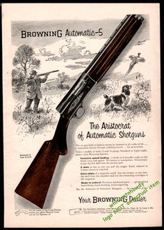 1956 BROWNING Automatic-5 Shotgun AD Hunter w/ English Springer Spaniel