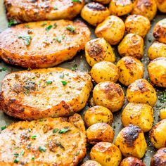 Ranch Pork Chops and Potatoes Sheet Pan Dinner, an easy dinner that is packed full of flavor. All you need is one sheet pan to get gorgeous ranch pork chops and perfectly roasted potatoes! Pork Loin Ribs, Roast Pork Chops, Pork Chops And Potatoes, Roasted Potatoes, Baby Potatoes, Best Pork Chop Recipe, Easy Pork Chop Recipes, Pork Recipes, Cheap Recipes