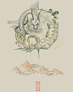 Dragon, Badgermole, Sky Bison, Koi, text, spirit animals; Avatar: the Last Airbender